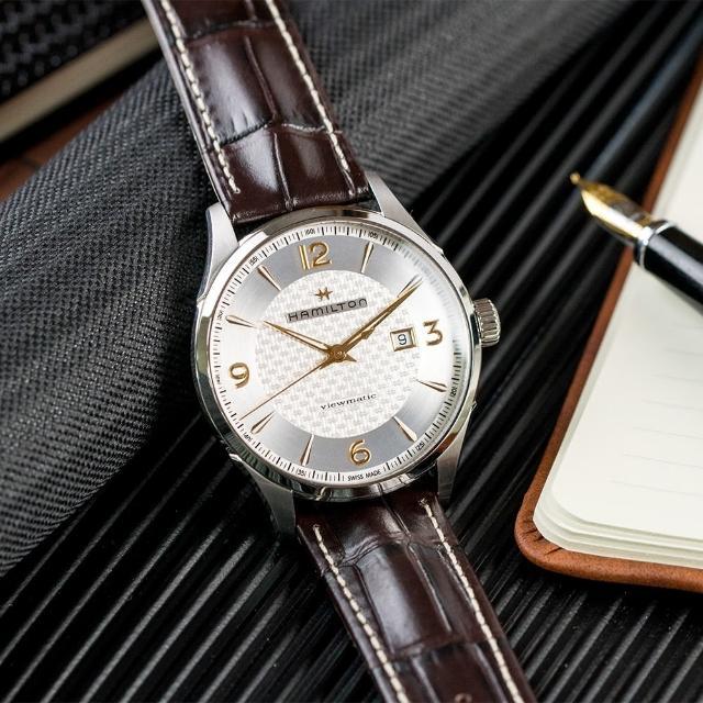 【HAMILTON 漢米爾頓】Jazzmaster 爵士經典自動上鍊機械皮革腕錶/咖啡(H32755551)
