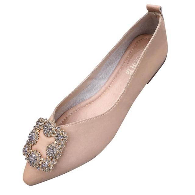 【Sp house】宮廷方鑽尖頭柔軟平底娃娃鞋(3色可選)