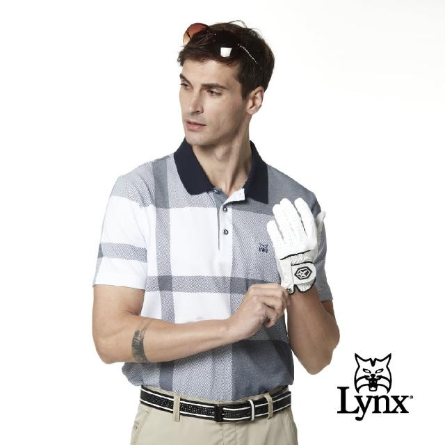 【Lynx Golf】男款吸濕排汗斜紋方格山貓胸袋款短袖POLO衫(深藍色)