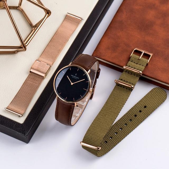 【Nordgreen】本真 玫瑰金殼×黑面 綠尼龍錶帶+復古棕皮錶帶+金米蘭錶帶 組合裝(NR36RGBLNYAGLEBRMERO)