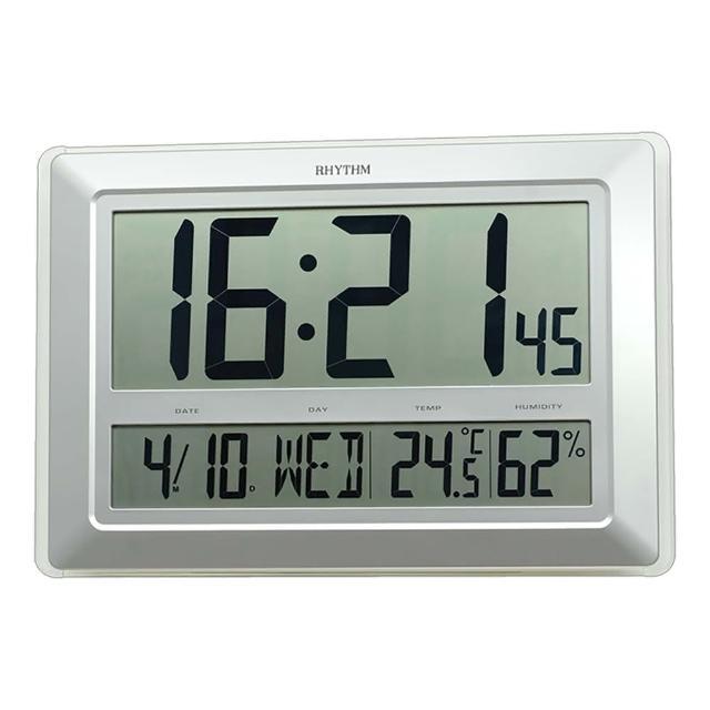 【RHYTHM 麗聲】大尺寸設計座掛兩用電子鐘(日期/溫度/濕度顯示)