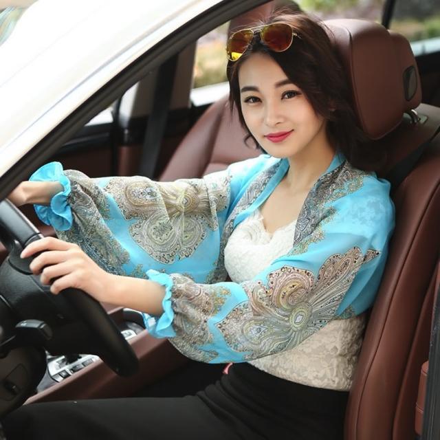 【89 zone】韓版時尚加長薄冰袖防紫外線防曬/披肩袖套(薄荷綠)