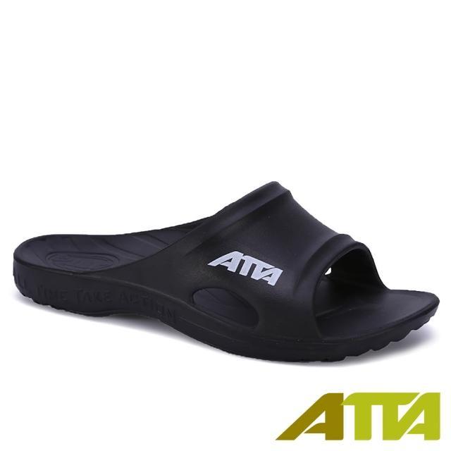【ATTA】足底均壓★足弓支撐簡約休閒拖鞋(黑色)