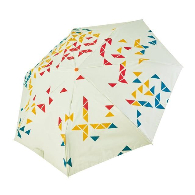 【rainstory】-8°降溫凍齡個人自動傘-撞色幾何-紅(遮光色膠系列)