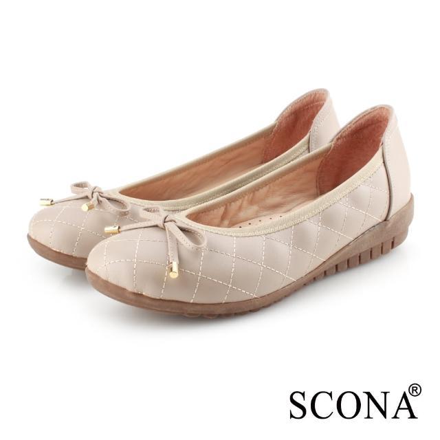 【SCONA 蘇格南】全真皮 簡約格紋厚底娃娃鞋(杏色 31090-2)