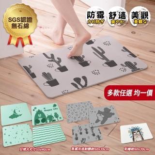 【網狐家居】台灣SGS檢驗通過不含石綿-大尺寸彩繪優質硅藻土超吸水地墊