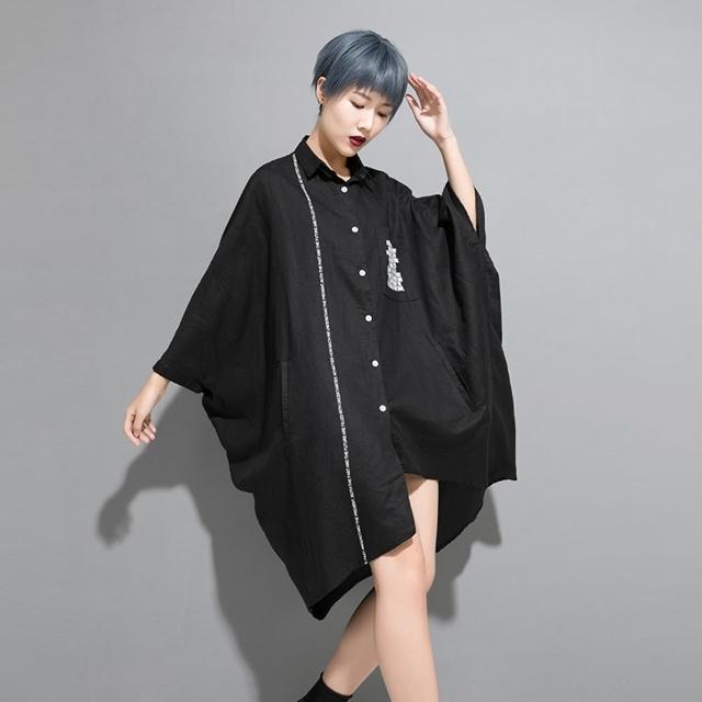 【CLORI】拼接印花蝙蝠袖不規則長版襯衫-F(共兩色)
