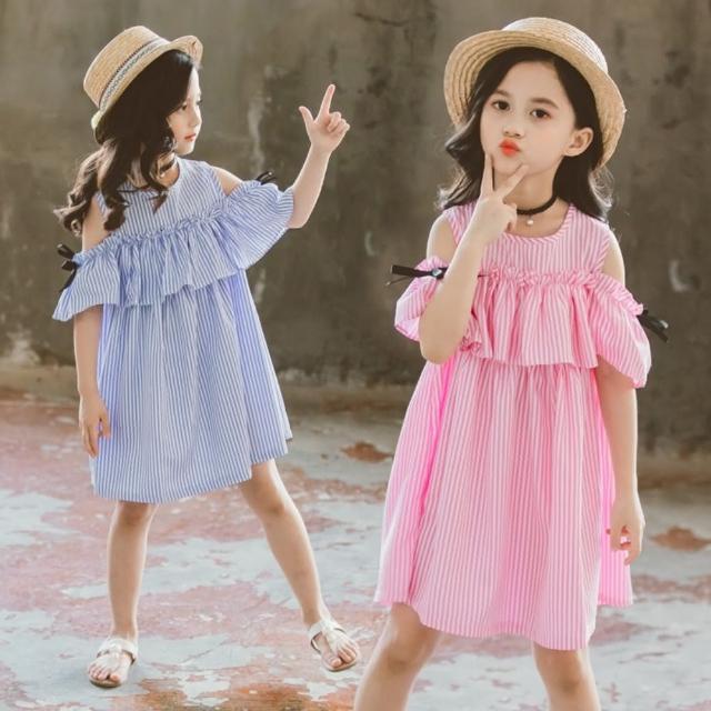 【小衣衫童裝】中大童夏款豎條紋甜美小露肩連身裙洋裝(1090410)