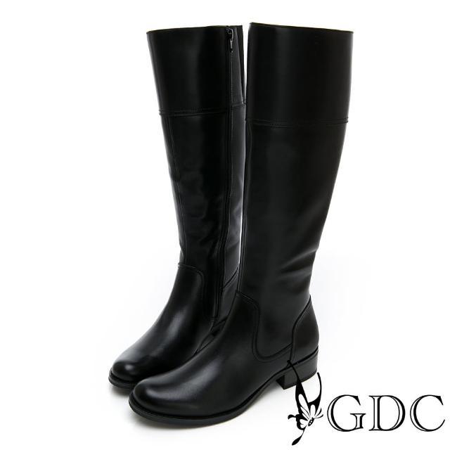 【GDC】真皮時尚歐美都會素色基本長靴-黑色(828917)