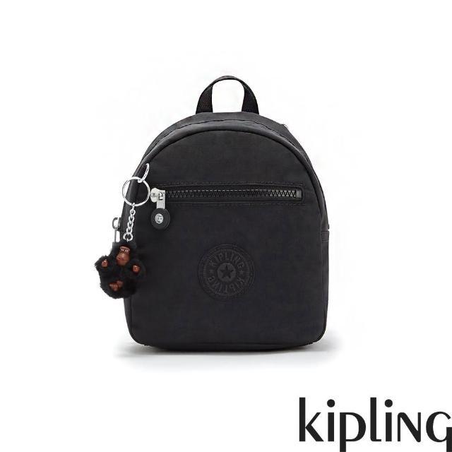 【KIPLING】質感黑簡約時尚拉鍊後背包-WINNIFRED