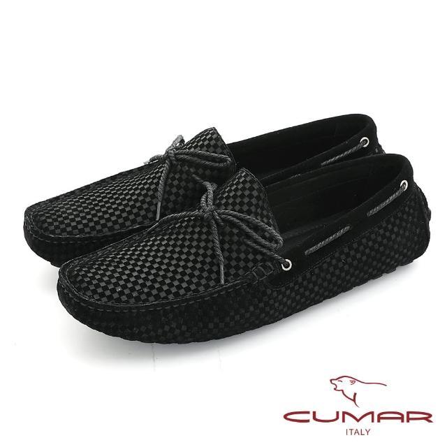 【CUMAR】時尚休閒 牛皮綁帶帆船鞋(黑色)