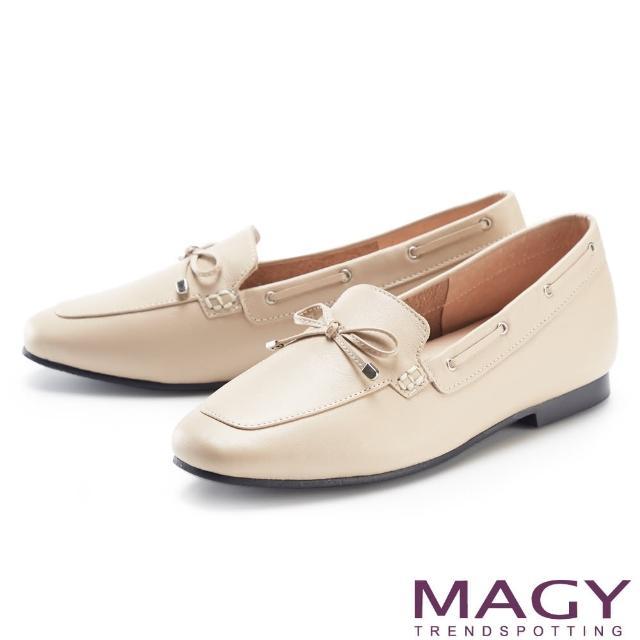【MAGY】嚴選真皮蝴蝶結平底 女 樂福鞋(杏色)