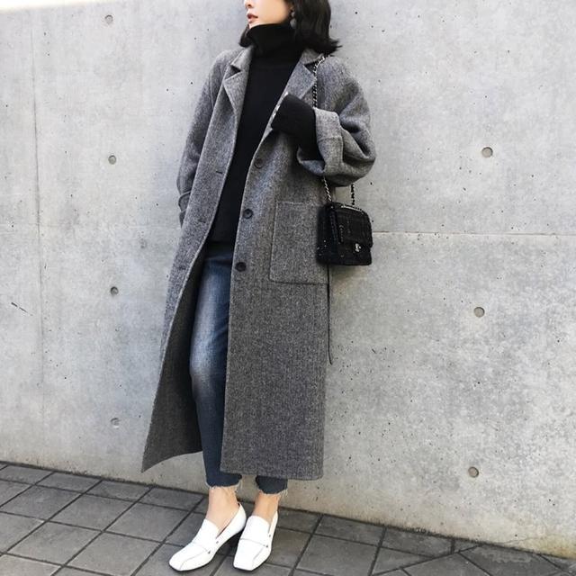 【米蘭精品】毛呢外套長版大衣(純色加厚雙口袋綁帶女外套73wd12)