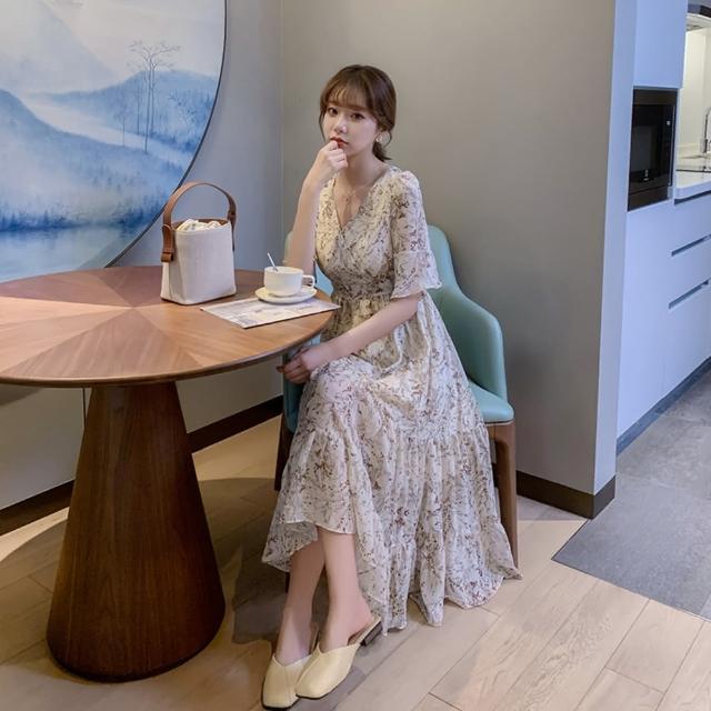 【Dorri】甜美碎花V領高腰荷葉雪紡長洋裝S-XL