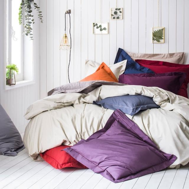 【ESSIX】100%長纖棉素色床包-科爾馬系列(雙加180x186cm)