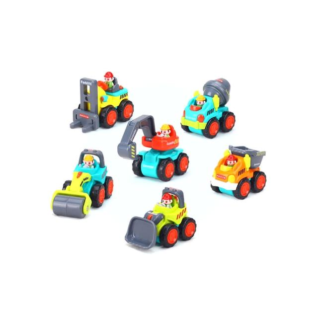 【HOLA】匯樂迷你口袋慣性工程車超值6款盒裝組 / 模型兒童玩具車