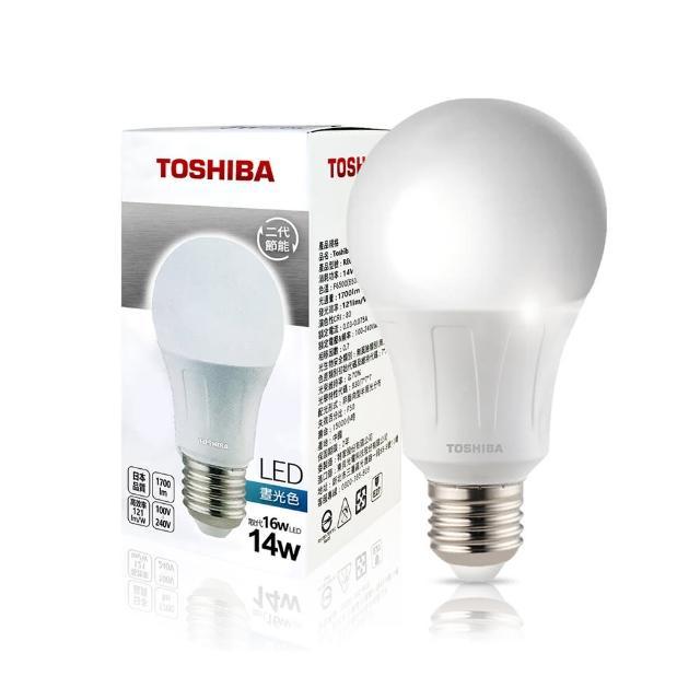 【TOSHIBA 東芝】14W 護眼 高顯色 LED燈泡-三色任選(晝光色/燈泡色/自然色)