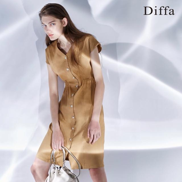 【Diffa】義大利棉麻開襟短洋裝
