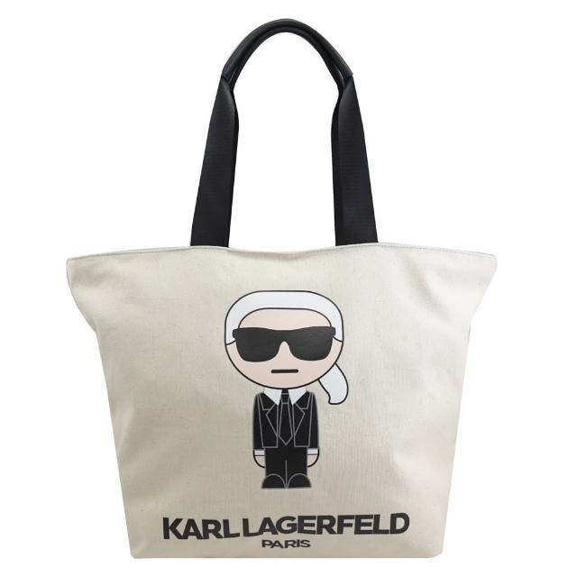 【KARL LAGERFELD 卡爾】老佛爺公仔圖樣折疊肩背托特包(白)