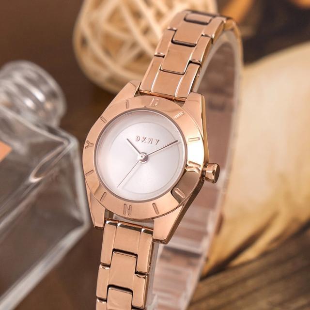 【DKNY】公司貨 Greene 極簡魅力小錶徑不鏽鋼腕錶/玫瑰金x白面(NY2871)