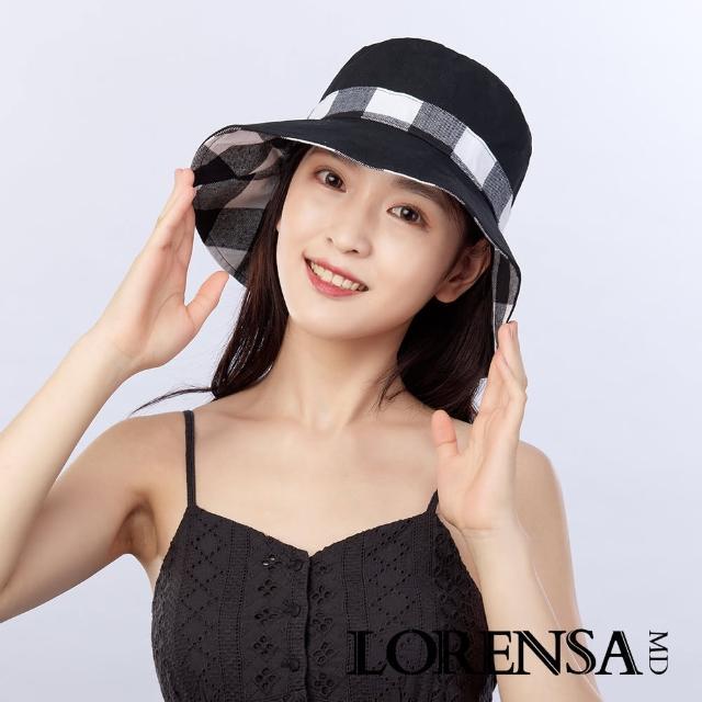 【Lorensa 蘿芮】抗UV蝴蝶結格紋純色雙面戴防曬遮陽帽