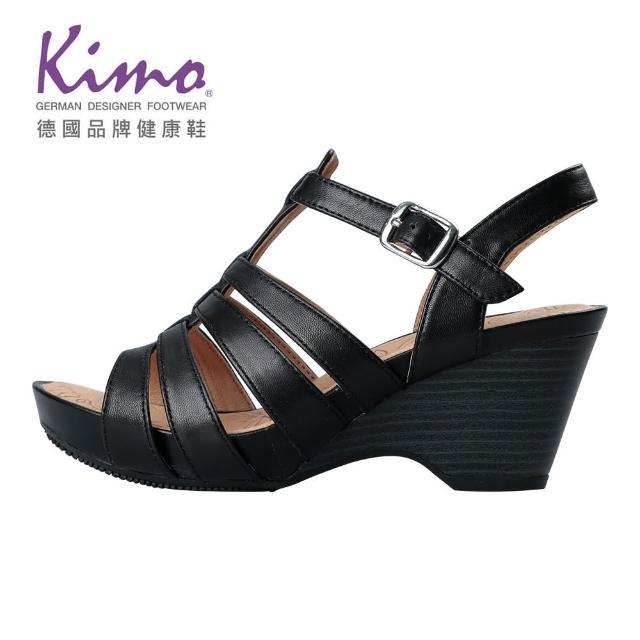 【Kimo】羅馬風情羊皮楔型涼鞋 女鞋(黑 KBJSF157023)