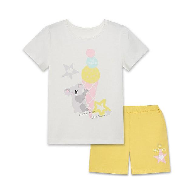 【麗嬰房】EASY輕鬆系列 水水美食家無尾熊套裝-白色(短袖上衣+短褲 / 76cm~130cm)