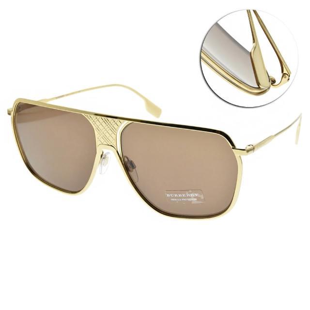 【BURBERRY 巴寶莉】太陽眼鏡 設計飛官框款(金-棕鏡片#B3120 101773)