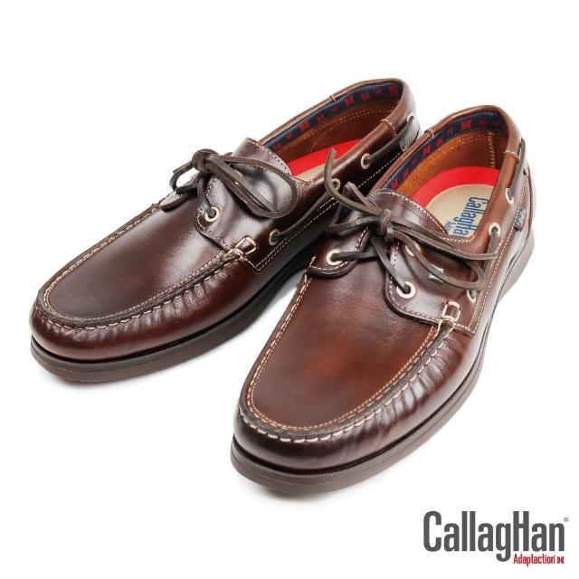 【CallagHan】雅痞風格真皮帆船鞋 深棕色(43800-DBR)