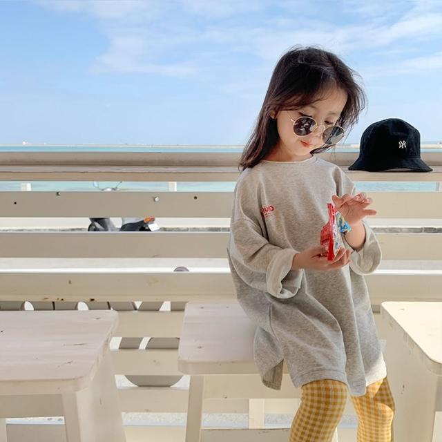 【橘魔法】女孩灰色圓領長袖衛衣(前短後長上衣 五分袖上衣 上衣 女童)