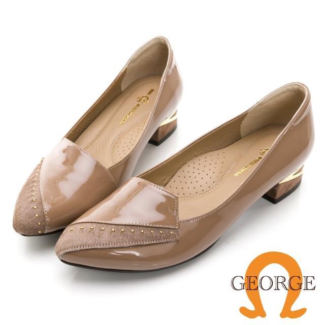 【GEORGE 喬治皮鞋】亮面真皮個性馬毛方跟淑女鞋 -奶茶色 031012CU