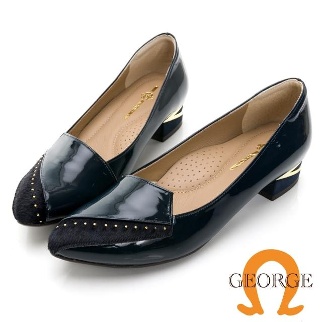 【GEORGE 喬治皮鞋】亮面真皮個性馬毛方跟淑女鞋 -深藍 031012CU