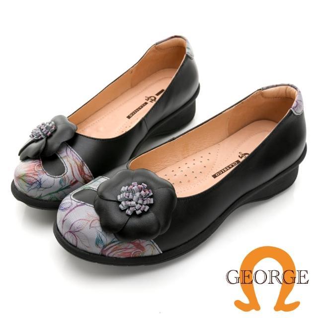 【GEORGE 喬治皮鞋】真皮彩繪拼接立體花朵休閒氣墊鞋 -黑031020EU
