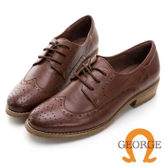 【GEORGE 喬治皮鞋】學院風真皮翼紋雕花木紋中跟鞋 -咖 034007JM