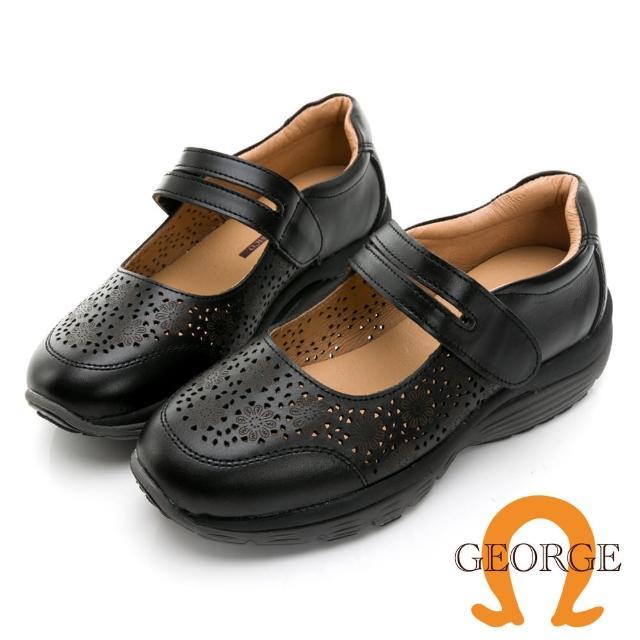 【GEORGE 喬治皮鞋】真皮鏤空雕花魔鬼氈厚底氣墊鞋 -黑114003HK