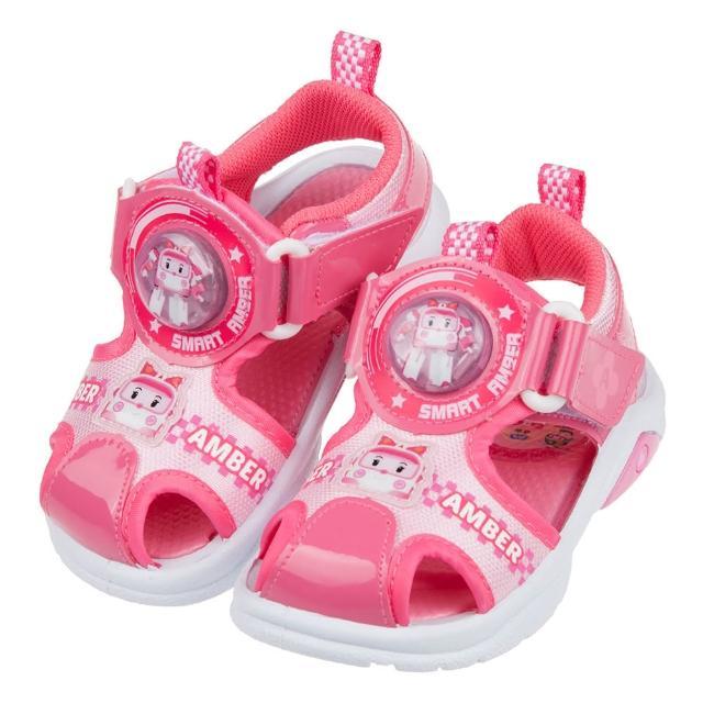 【布布童鞋】POLI救援小英雄安寶桃紅自黏兒童電燈護趾涼鞋(B1G213G)