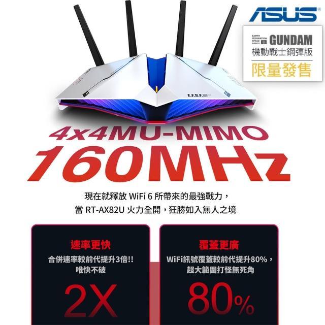 【獨家-防毒軟體組】ASUS 華碩 ASUS X GUNDAM RT-AX82U WI-FI 6 分享器(鋼彈限量款) +趨勢科技智慧網安管家