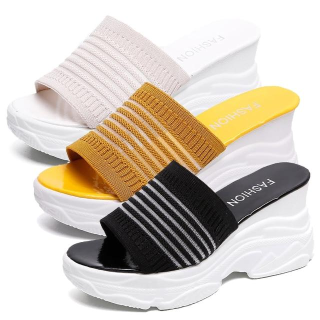 【Taroko】時尚韓風鬆糕彈性布料厚底一字拖鞋(3色可選)