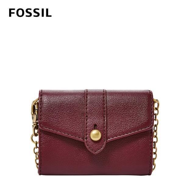 【FOSSIL】Blake 迷你鍊帶零錢包皮夾-咖啡紅色 SWL2552599