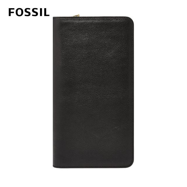 【FOSSIL】Travel 真皮拉鍊護照長夾-黑色 MLG0334001