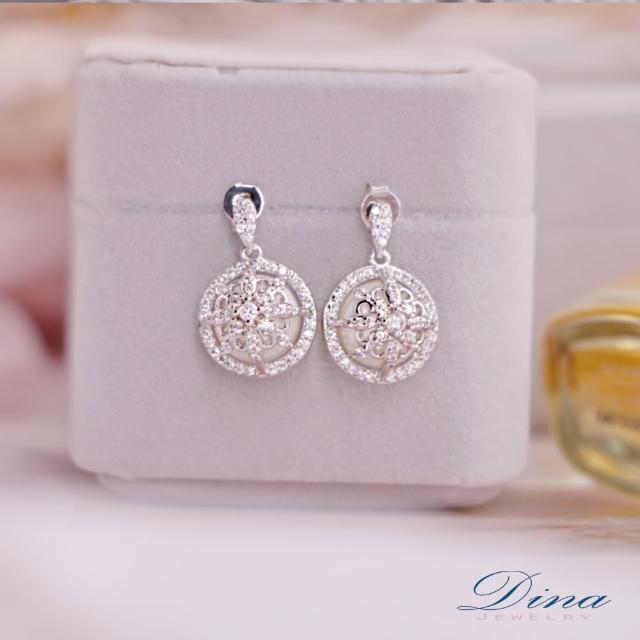 【DINA 蒂娜珠寶】繡花珠 CZ鑽造型耳環(CS8613)