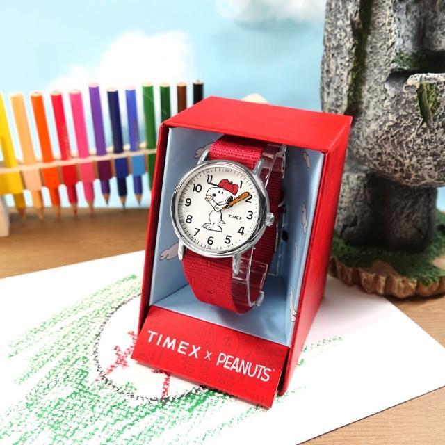 【TIMEX】SNOOPY 史努比聯名 INDIGLO專利冷光照明 尼龍手錶 白x銀框x紅 38mm(TXTW2R41400)