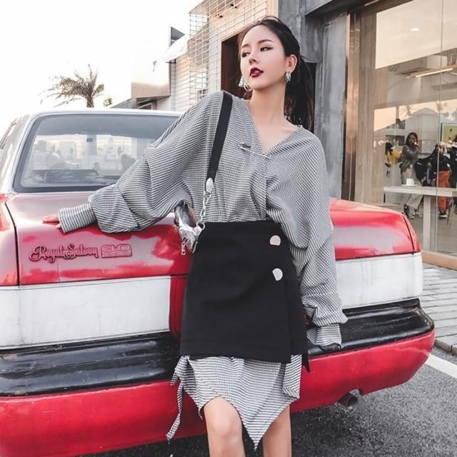 【米蘭精品】連身裙長袖洋裝兩件套(網格子不規則剪裁秋季女裙子73yh15)