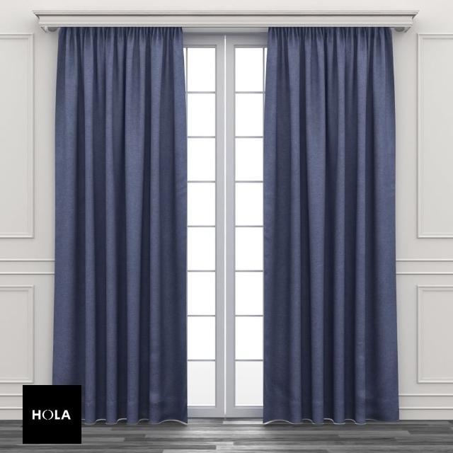 【HOLA】素色三明治遮光落地窗簾 270x230cm 灰藍