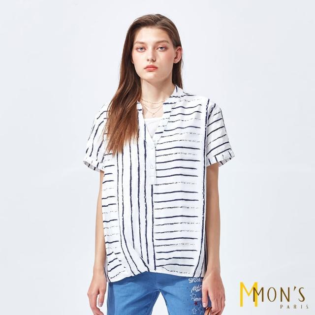 【MON'S】條紋印花純棉上衣