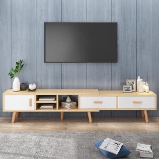 【HappyLife】可伸縮電視櫃164~220CM 實木櫃腳 Y10084(影音櫃 視聽櫃 客廳櫃 展示櫃 邊櫃 伸縮櫃)