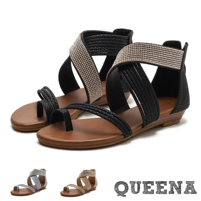 【QUEENA】夾腳涼鞋 交叉涼鞋/璀璨亮鑽線繩編織交叉造型時尚羅馬涼鞋(2色任選)