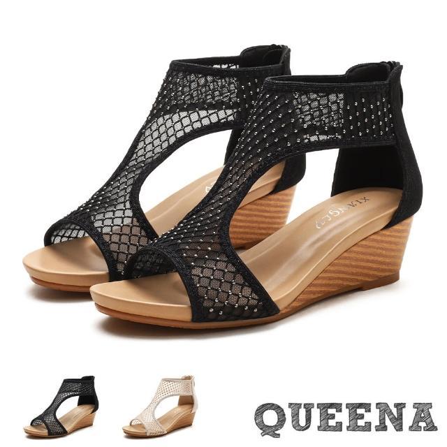 【QUEENA】坡跟涼鞋 魚口涼鞋/性感水鑽網紗魚口露趾時尚坡跟涼鞋(2色任選)