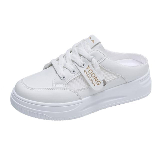 【Taroko】小白鞋網面透氣厚底休閒穆勒鞋(2色可選)