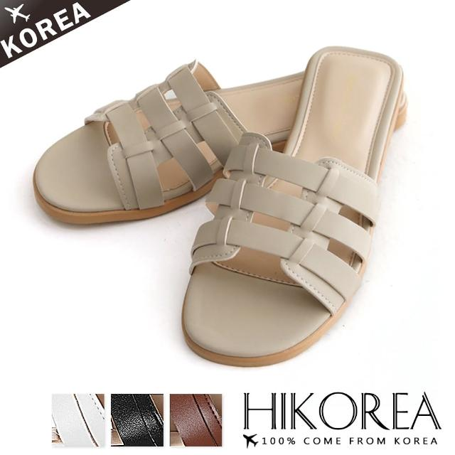【HIKOREA】正韓製/版型正常。立體編織平底休閒百搭涼拖鞋(71-3257四色/現貨+預購)